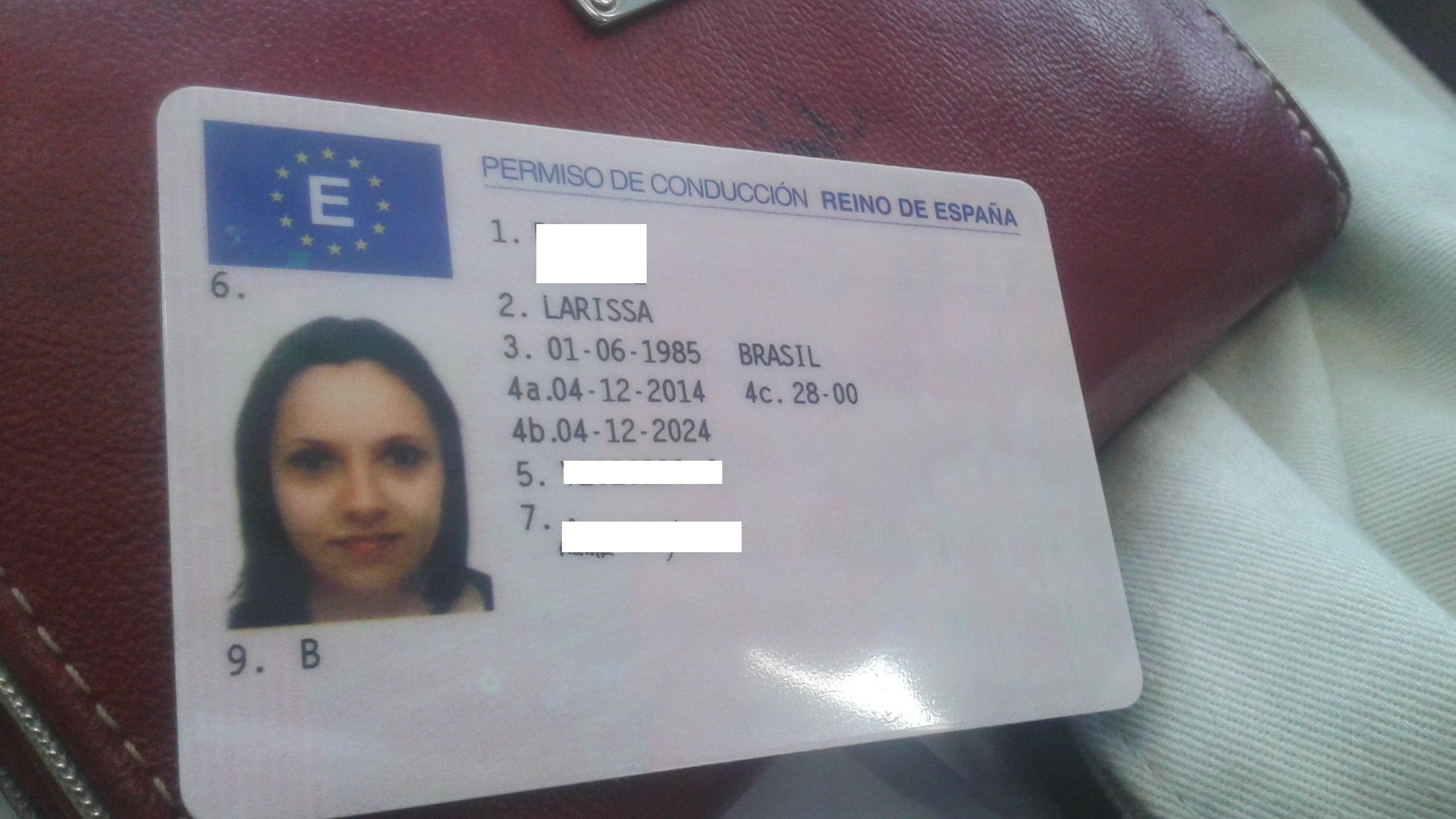 Minha carteira de motorista espanhola